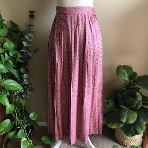 Vintage • Floral Pink Maxi Pleated Skirt 207